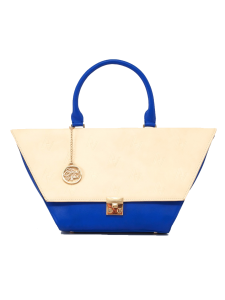 Nude and Blue Flap Bag