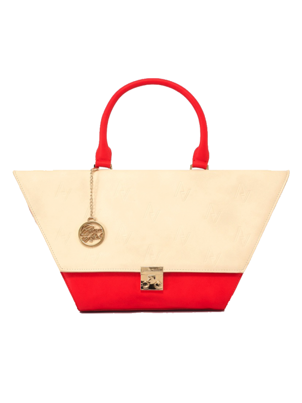 Nude and Red Flap Bag