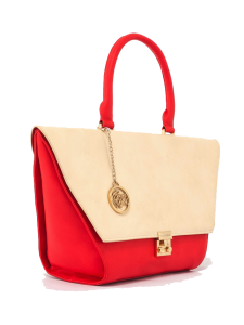 Nude & Red Flap Bag