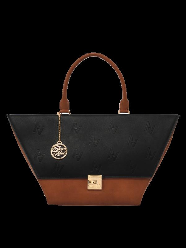 Tan and Black Flap Bag