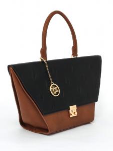 Tan & Black Flap Bag