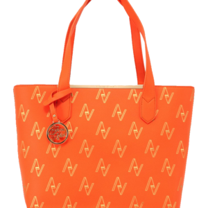 Orange Pull String Tote Bag